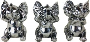 Set Of Three Silver Effect Elephants