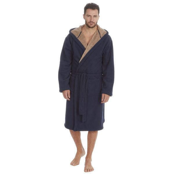 Mens Drop Needle Bonded Polar Fleece Dressing Gown with Sherpa Lining