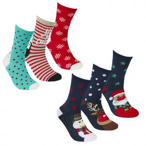 Adults 2 x 3 Packs of Christmas Socks In Carded Packs