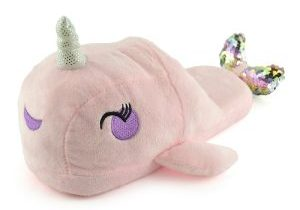 Ladies Plush Novelty Pink Narwhal Open Back Slippers